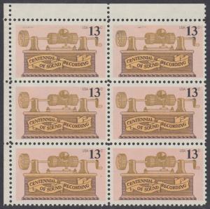USA Michel 1293 / Scott 1705 postfrisch vert.BLOCK(6) ECKRAND oben links - 100. Jahrestag der ersten Tonaufnahme: Phonograph