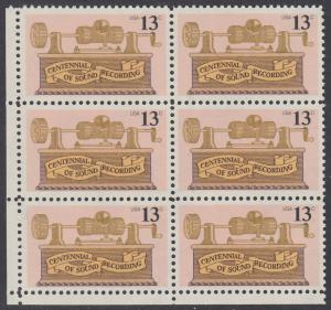 USA Michel 1293 / Scott 1705 postfrisch vert.BLOCK(6) ECKRAND unten links - 100. Jahrestag der ersten Tonaufnahme: Phonograph