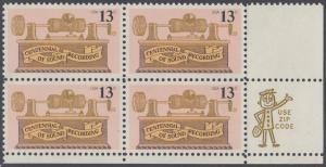 USA Michel 1293 / Scott 1705 postfrisch ZIP-BLOCK (lr) - 100. Jahrestag der ersten Tonaufnahme: Phonograph