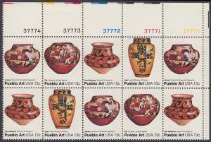 USA Michel 1294-1297 / Scott 1706-1709 postfrisch horiz.PLATEBLOCK(10) ECKRAND oben rechts m/ Platten-# 37770 - Amerikanische Volkskunst: Töpferkunst der Pueblo-Indianer