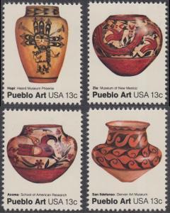 USA Michel 1294-1297 / Scott 1706-1709 postfrisch SATZ(4) EINZELMARKEN - Amerikanische Volkskunst: Töpferkunst der Pueblo-Indianer