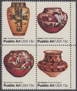USA Michel 1294-1297 / Scott 1706-1709 postfrisch BLOCK RÄNDER rechts - Amerikanische Volkskunst: Töpferkunst der Pueblo-Indianer