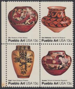USA Michel 1294-1297 / Scott 1706-1709 postfrisch BLOCK RÄNDER links - Amerikanische Volkskunst: Töpferkunst der Pueblo-Indianer