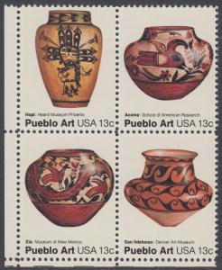 USA Michel 1294-1297 / Scott 1706-1709 postfrisch BLOCK ECKRAND unten links - Amerikanische Volkskunst: Töpferkunst der Pueblo-Indianer
