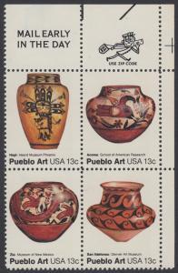 USA Michel 1294-1297 / Scott 1706-1709 postfrisch ZIP-BLOCK (ur) - Amerikanische Volkskunst: Töpferkunst der Pueblo-Indianer