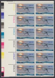 """USA Michel 1298 / Scott 1710 postfrisch vert.PLATEBLOCK(12) ECKRAND oben links m/ Platten-# 37933 - 50. Jahrestag des ersten Alleinfluges über den Atlantischen Ozean: Charles A. Lindberghs Flugzeug Ryan NYP """"Spirit of St. Louis"""""""