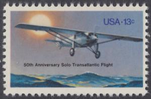 """USA Michel 1298 / Scott 1710 postfrisch EINZELMARKE - 50. Jahrestag des ersten Alleinfluges über den Atlantischen Ozean: Charles A. Lindberghs Flugzeug Ryan NYP """"Spirit of St. Louis"""""""