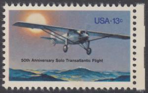 """USA Michel 1298 / Scott 1710 postfrisch EINZELMARKE RAND rechts - 50. Jahrestag des ersten Alleinfluges über den Atlantischen Ozean: Charles A. Lindberghs Flugzeug Ryan NYP """"Spirit of St. Louis"""""""