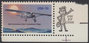 """USA Michel 1298 / Scott 1710 postfrisch EINZELMARKE ECKRAND unten rechts m/ ZIP-Emblem - 50. Jahrestag des ersten Alleinfluges über den Atlantischen Ozean: Charles A. Lindberghs Flugzeug Ryan NYP """"Spirit of St. Louis"""""""