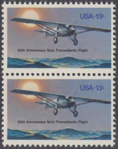 """USA Michel 1298 / Scott 1710 postfrisch vert.PAAR - 50. Jahrestag des ersten Alleinfluges über den Atlantischen Ozean: Charles A. Lindberghs Flugzeug Ryan NYP """"Spirit of St. Louis"""""""