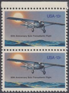 """USA Michel 1298 / Scott 1710 postfrisch vert.PAAR RAND oben - 50. Jahrestag des ersten Alleinfluges über den Atlantischen Ozean: Charles A. Lindberghs Flugzeug Ryan NYP """"Spirit of St. Louis"""""""