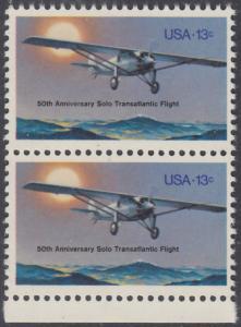 """USA Michel 1298 / Scott 1710 postfrisch vert.PAAR RAND unten - 50. Jahrestag des ersten Alleinfluges über den Atlantischen Ozean: Charles A. Lindberghs Flugzeug Ryan NYP """"Spirit of St. Louis"""""""