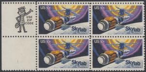 USA Michel 1136 / Scott 1529 postfrisch ZIP-BLOCK (ul) - Raumfahrtunternehmen Skylab