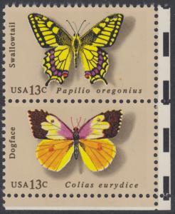 USA Michel 1300+1302 / Scott 1712+1714 postfrisch vert.PAAR ECKRAND unten rechts - Schmetterlinge