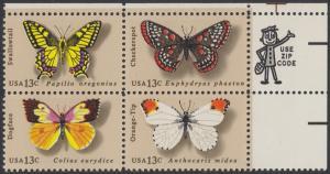 USA Michel 1300-1303 / Scott 1712-1715 postfrisch ZIP-BLOCK (ur) - Schmetterlinge