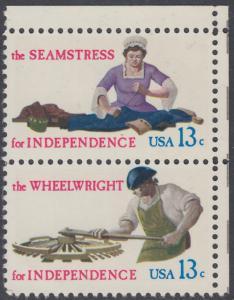 USA Michel 1305+1307 / Scott 1717+1719 postfrisch vert.PAAR ECKRAND oben rechts - Handwerksberufe aus der Zeit der Unabhängigkeitskriege: Näherin / Wagenbauer