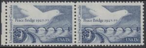 USA Michel 1309 / Scott 1721 postfrisch horiz.PAAR RAND links - Friedensbrücke von Fort Erie, Ontario (Kanada) nach Buffalo, NY (USA); Friedenstaube