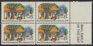USA Michel 1311 / Scott 1725 postfrisch BLOCK RÄNDER rechts m/ Mail Early-Vermerk - 200. Jahrestag der ersten zivilen Niederlassung in Kalifornien; Farmhäuser in Alta California