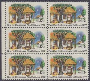 USA Michel 1311 / Scott 1725 postfrisch vert.BLOCK(6) RÄNDER links - 200. Jahrestag der ersten zivilen Niederlassung in Kalifornien; Farmhäuser in Alta California