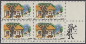 USA Michel 1311 / Scott 1725 postfrisch ZIP-BLOCK (lr) - 200. Jahrestag der ersten zivilen Niederlassung in Kalifornien; Farmhäuser in Alta California