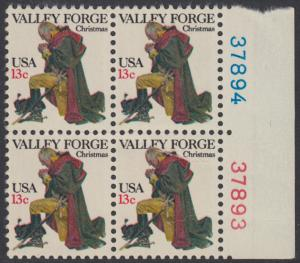 USA Michel 1317 / Scott 1729 postfrisch BLOCK RÄNDER rechts m/ Platten-# 37894 - Weihnachten: General George Washington beim Gebet in Valley Forge