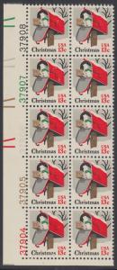 USA Michel 1318 / Scott 1730 postfrisch vert.PLATEBLOCK(10) ECKRAND unten links m/ Platten-# 37904 - Weihnachten: Briefkasten