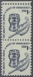 USA Michel 1320 / Scott 1581 postfrisch vert.PAAR RAND oben - Americana-Ausgabe: Tintenfass und Federkiel im Kolonialstil