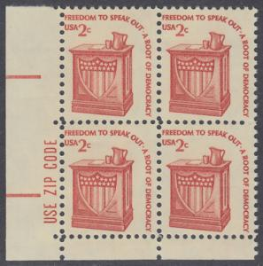USA Michel 1321 / Scott 1582 postfrisch ZIP-BLOCK (ll) - Americana-Ausgabe: Rednerpult