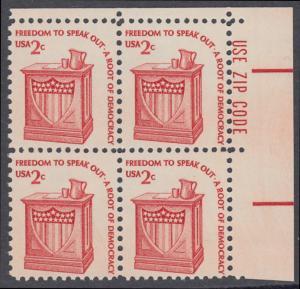 USA Michel 1321 / Scott 1582 postfrisch ZIP-BLOCK (ur) - Americana-Ausgabe: Rednerpult