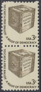 USA Michel 1322 / Scott 1584 postfrisch vert.PAAR - Americana-Ausgabe: Wahlurne
