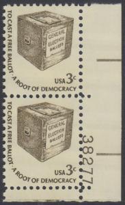 USA Michel 1322 / Scott 1584 postfrisch vert.PAAR ECKRAND unten rechts m/ Platten-# 38277 - Americana-Ausgabe: Wahlurne