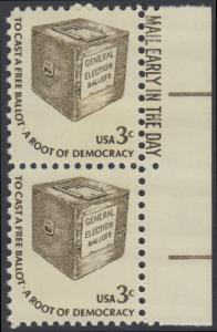 USA Michel 1322 / Scott 1584 postfrisch vert.PAAR RÄNDER rechts m/ Mail Early-Vermerk - Americana-Ausgabe: Wahlurne