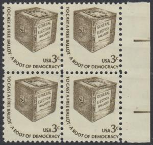 USA Michel 1322 / Scott 1584 postfrisch BLOCK RÄNDER rechts - Americana-Ausgabe: Wahlurne