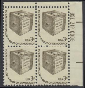 USA Michel 1322 / Scott 1584 postfrisch ZIP-BLOCK (ur) - Americana-Ausgabe: Wahlurne