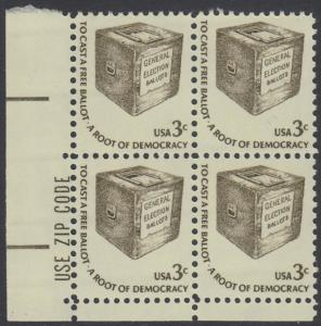 USA Michel 1322 / Scott 1584 postfrisch ZIP-BLOCK (ll) - Americana-Ausgabe: Wahlurne