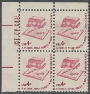 USA Michel 1323 / Scott 1585 postfrisch ZIP-BLOCK (ul) - Americana-Ausgabe: Literatur