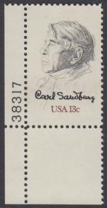 USA Michel 1324 / Scott 1731 postfrisch EINZELMARKE ECKRAND unten links m/ Platten-# 38317 - Carl Sandburg, Dichter