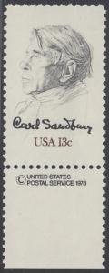 USA Michel 1324 / Scott 1731 postfrisch EINZELMARKE RAND unten m/ copyright symbol - Carl Sandburg, Dichter