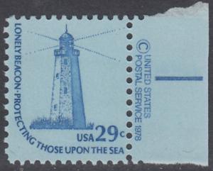 USA Michel 1334 / Scott 1605 postfrisch EINZELMARKE RAND rechts m/ copyright symbol - Americana-Ausgabe: Sandy-Hook-Leuchtturm, NJ