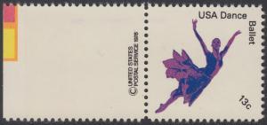 USA Michel 1336 / Scott 1749 postfrisch EINZELMARKE RAND links m/ copyright symbol - Kultureller Wert des Tanzens: Klassisches Ballett