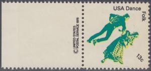USA Michel 1338 / Scott 1751 postfrisch EINZELMARKE RAND links m/ copyright symbol - Kultureller Wert des Tanzens: Volkstanz