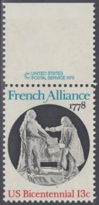 USA Michel 1339 / Scott 1753 postfrisch EINZELMARKE RAND oben m/ copyright symbol - Unabhängigkeit der Vereinigten Staaten von Amerika (1976): Bündnis mit Frankreich