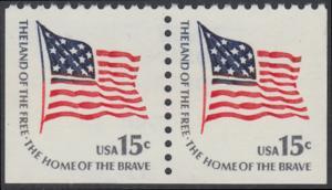 USA Michel 1352 / Scott 1598 postfrisch horiz.PAAR (links, unten & rechts ungezähnt) - Americana-Ausgabe: Fort-McHenry-Flagge (Nationalflagge 1795-1818)