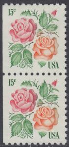 """USA Michel 1354 / Scott 1737 postfrisch vert.PAAR (links ungezähnt) - Rosen: """"Red Masterpiece"""", """"Medaillon"""""""