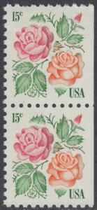 """USA Michel 1354 / Scott 1737 postfrisch vert.PAAR (rechts ungezähnt) - Rosen: """"Red Masterpiece"""", """"Medaillon"""""""