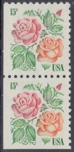 """USA Michel 1354 / Scott 1737 postfrisch vert.PAAR (links & unten ungezähnt) - Rosen: """"Red Masterpiece"""", """"Medaillon"""""""