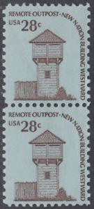 USA Michel 1357 / Scott 1604 postfrisch vert.PAAR - Americana-Ausgabe: Wachturm des Fort Nisqually, WA (erbaut 1833)