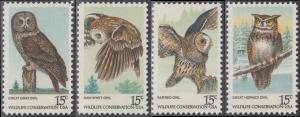 USA Michel 1358-1361 / Scott 1760-1763 postfrisch SATZ(4) EINZELMARKEN - Naturschutz: Eulen