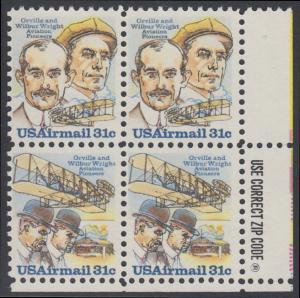 USA Michel 1362-1363 / Scott C091-C092 postfrisch ZIP-BLOCK (lr) - 75. Jahrestag des ersten Motorfluges der Brüder Wright; Orville und Wilbur Wright, Flugzeugtechniker; ihr Doppeldecker von 1903