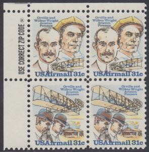 USA Michel 1362-1363 / Scott C091-C092 postfrisch ZIP-BLOCK (ul) - 75. Jahrestag des ersten Motorfluges der Brüder Wright; Orville und Wilbur Wright, Flugzeugtechniker; ihr Doppeldecker von 1903
